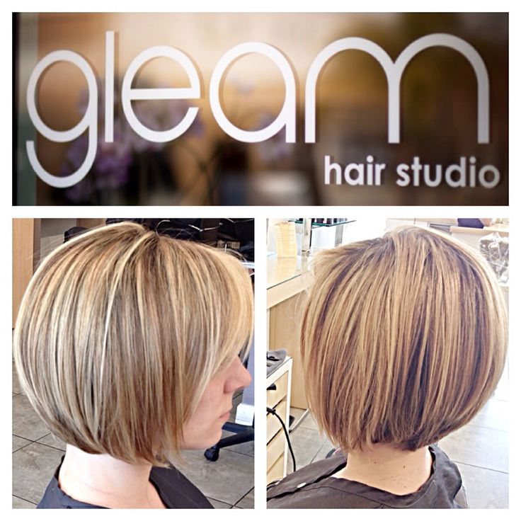 Short hair for Melissa today! Angled layered bob with some blonde Balayage highlights.