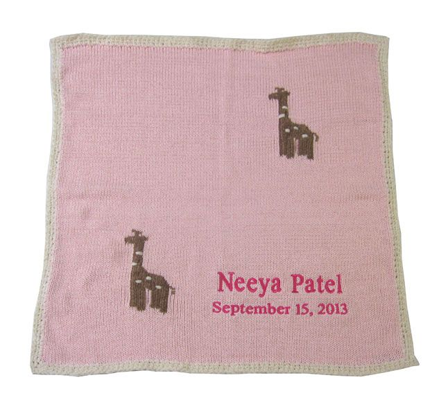 8 best custom baby gifts images on pinterest baby blankets handcrafted baby blanket with knitted baby giraffes is made in america and is a unique personalized negle Image collections