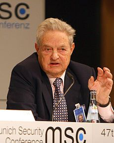 "George Soros. He is known as ""The Man Who Broke the Bank of England"" because of his short sale of US$10 billion worth of pounds, making him a profit of $1 billion during the 1992 Black Wednesday UK currency crisis. Soros is one of the 30 richest people in the world."