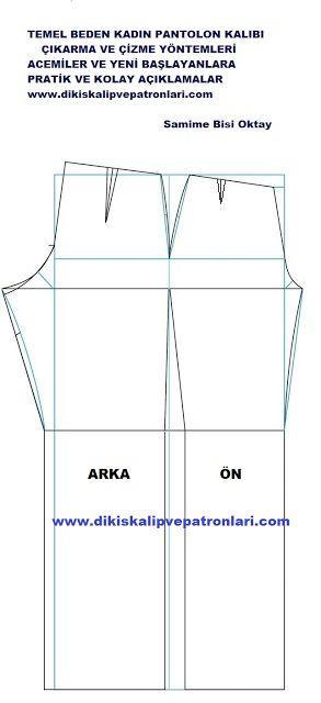 Temel Kadın Pantolon Kalıbı ( Klasik Pantolon ) Pensli Çıkarma ve Çizme Y…