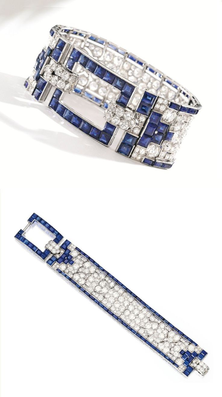 Platinum, Sapphire and Diamond Bracelet, Cartier The openwork band set with numerous old European and single-cut diamonds weighing approximately 24.70 carats, the border and buckle-style clasp set with 90 calibré-cut sapphires, length 7 inches, signed Cartier; circa 1925. images Sotheby's