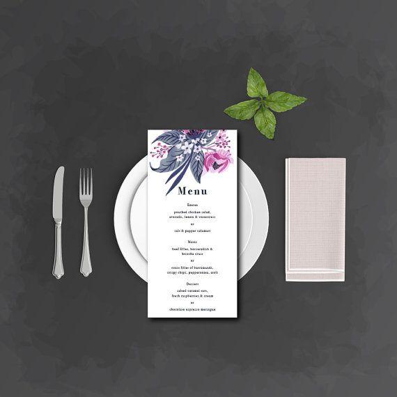 Menu | Tropical flowers navy & pink | DIY print | Wedding Menu