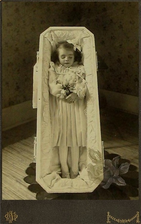 Small girl posed in a casket