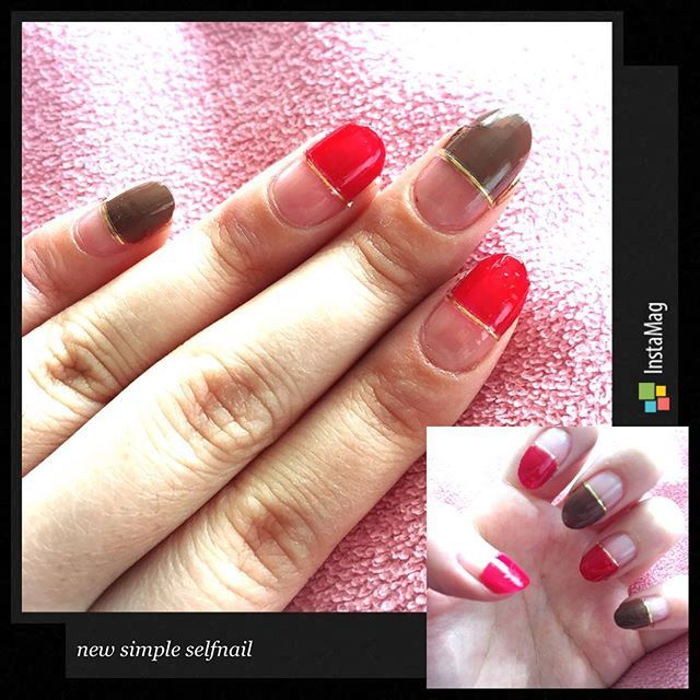 NEW 💅!!! #0407 #new #self #nail #selfnail #セルフネイル #simple #シンプル #red #brown #赤 #茶  #gold #ゴールド #ライン #簡単 #instalike #instaphoto #💅 #❤