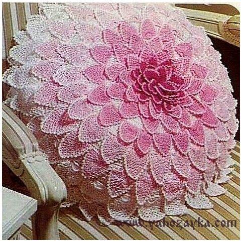 Подушка в форме цветка связанная крючком. Объемная подушка-цветок крючком схемы | Я Хозяйка