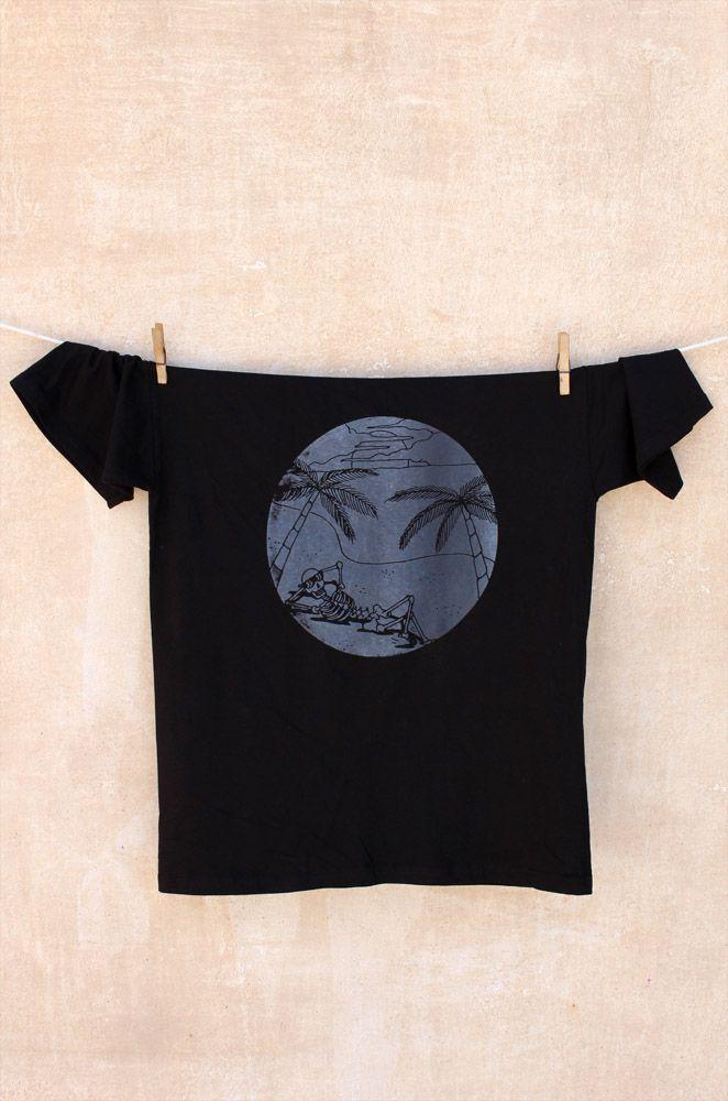 Dead Vacation T-shirt  White print on black t-shirt 100% cotton