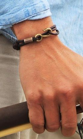 A Simple Leather Hook Bracelet for Men - Men's Leather Jewelry