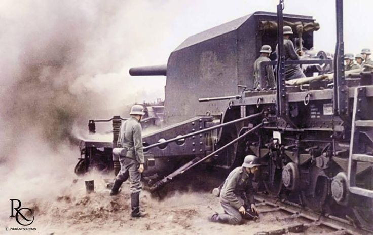 """German Railroad Battery """"Gneisenau"""" The battery was composed of four 15 cm SK L/45 guns with ship's armoured turrets (open type), of which we can see one here in action. It was the only railroad gun..."""