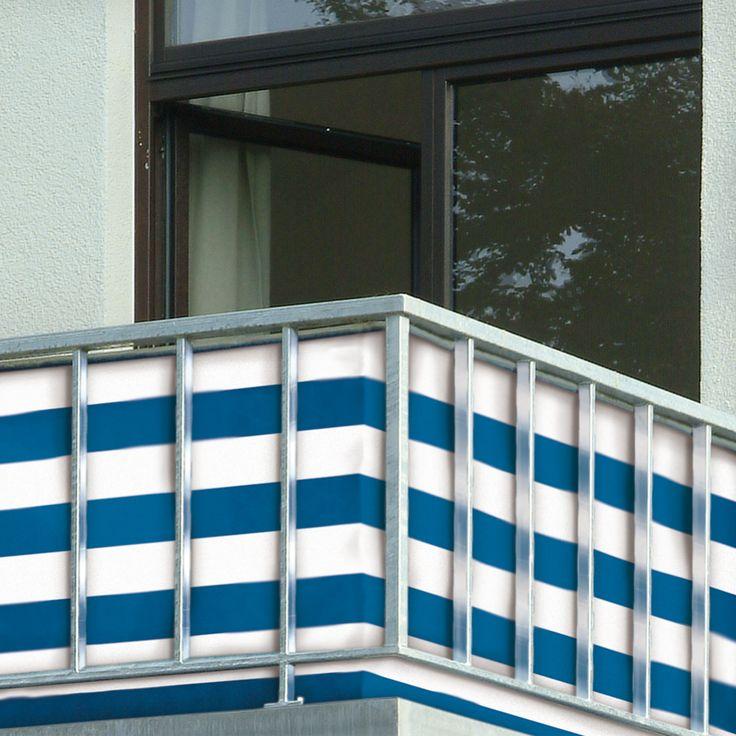 Balkon scherm  Description: Bevestig dit decoratieve scherm aan uw balkon en niemand kan uw privacy verstoren. Het stevige scherm houdt op winderige dagen tevens de wind tegen. Gemaakt van weersbestendig gemakkelijk te reinigen kunststof. Eenvoudig te bevestigen aan balkonrand of tuinafscheiding door middel van metalen ogen. Kleur: blauw/wit. Lengte: 5 meter. Hoogte: 90 cm.  Price: 36.99  Meer informatie
