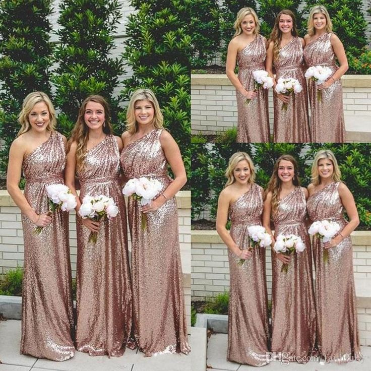 2017 Sequins Long Bridesmaid Dresses Rose Gold One Shoulder Bling Ruched Backless Garden Cheap Wedding Party Gowns Summer Boho Maid Of Honor Navy Blue Bridesmaid Dresses Navy Bridesmaid Dresses From Faithfully, $87.44| Dhgate.Com