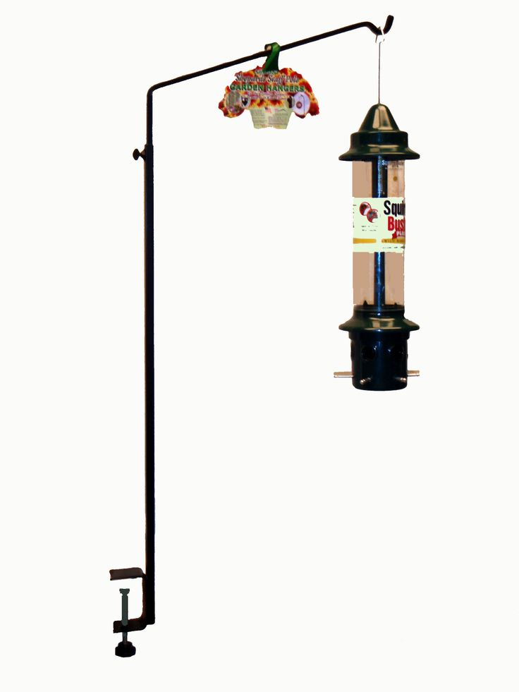 RT2BRO  Deck Hanger for Squirrel Buster  Clamp on deck rail hook made specifically for the Squirrel Buster™. Allows feeder to hang at the correct distance to keep feeder squirrel proof. Adjustable height. Feeder not included