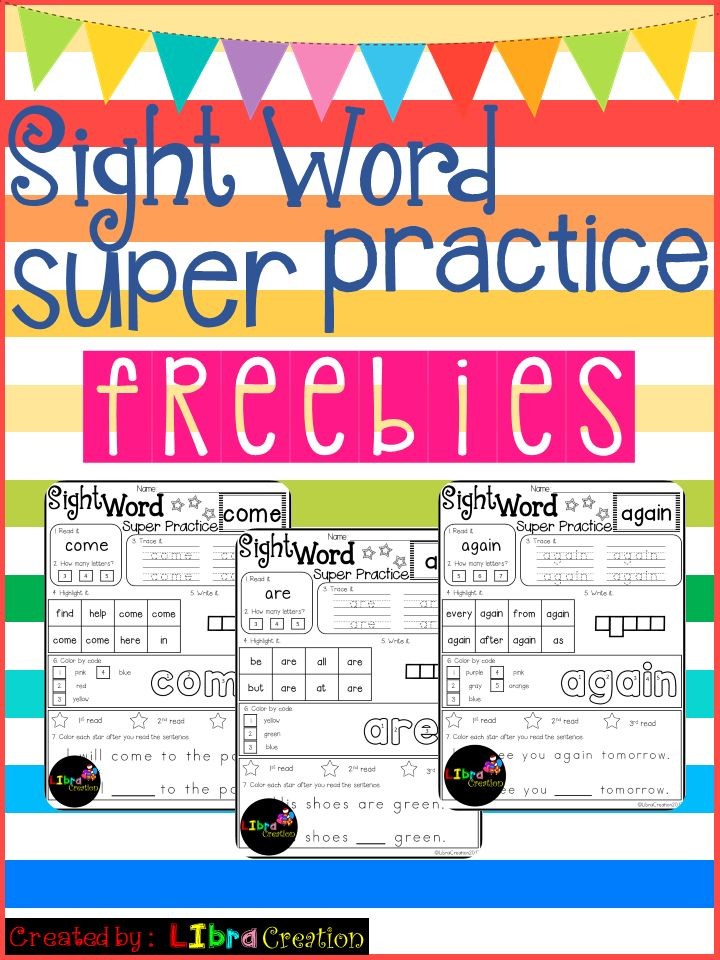 These freebies include: * 4 Free pages Pre Primer * 3 Free pages Primer * 3 Free pages First Grade Free Product, Freebies, Preschool, Preschool Worksheets, Kindergarten, Kindergarten Worksheets, First Grade, First Grade Worksheets, Sight Word, Sight Word Activities, Sight Word Activities The Bundle, Bundle, Sight Word, Sight Word Printables