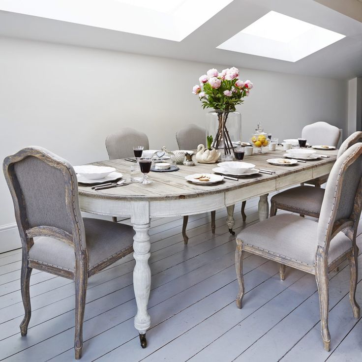 Extendable Dining Table Limewhite Washed Top And Painted Distressed