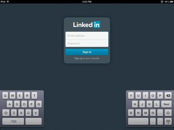 Login Screen - LinkedIn App for iPad