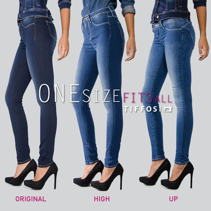TIFFOSI | One Size Fits All  Qual é a tua preferida: Original, High ou Up? What's your favorite: Original, High or Up?  #tiffosi #tiffosidenim #jeans #onesizefitsall #tiffosionesizefitsall #onesizejeans #denim #original #high #up