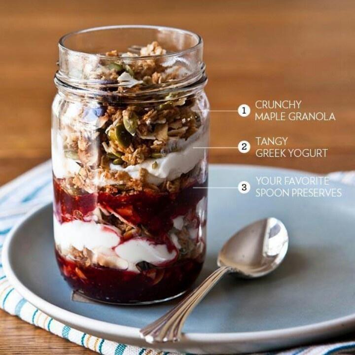 Breakfast Parfait, layered with jam, granola, yogurt until top of jar/glass.