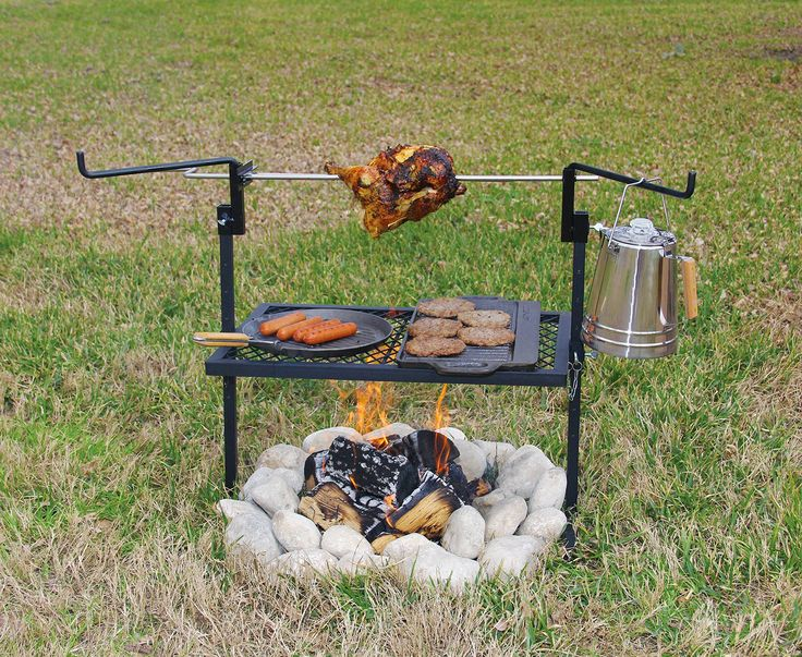 Campfire Cooking Equipment: Over-Fire Grills, Rotisserie Spits and Stands - Texsport Outdoor Camping Rotisserie Grill and Spit