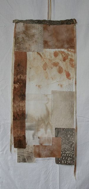 soft rain by Here with T slow cloth, silk, cotton, wax eco batik. kantha stitch. All fragments hand dyed with Australian native vegetation.