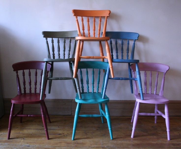 Painted farmhouse chairs in Barcelona Orange, Provence, Greek Blue, Henrietta, Graphite and Primer Red by Agapanthus Interiors, in Stockport, Manchester, England