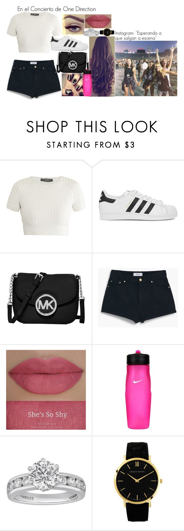"""#En el Concierto de One Direction"" by valenpocitovillarroel on Polyvore featuring Alexander McQueen, adidas Originals, MICHAEL Michael Kors, MANGO, Lime Crime, She's So, NIKE, Tiffany & Co., Larsson & Jennings and women's clothing"