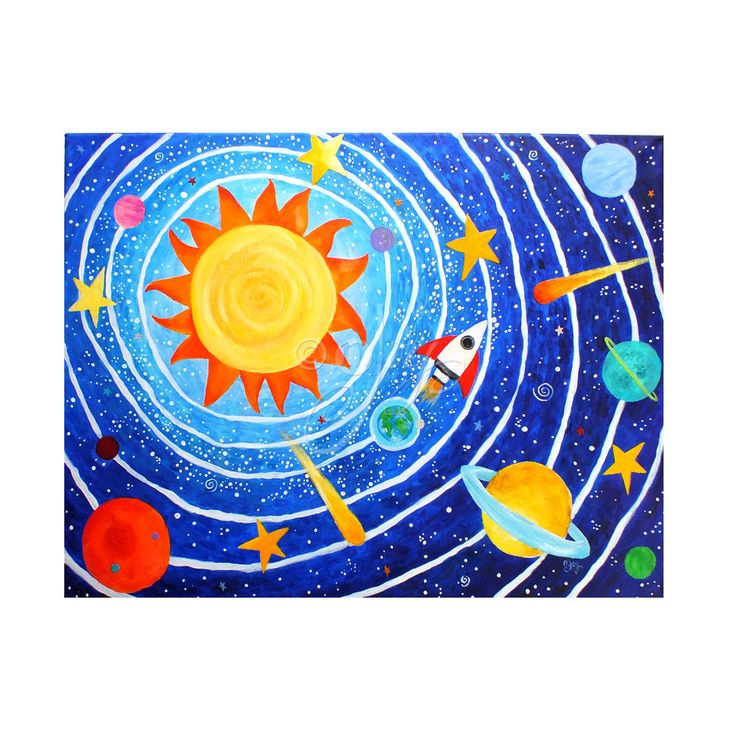 Space Painting For Childrens Room, Solar System #7, Art