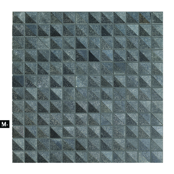 MUDTILE floor or wall mosaic tile / pattern name: Inbox / color: Coal mix (blacks) / 1 x 1 in / Distributed by ciot.com (Canada) mudtile.com