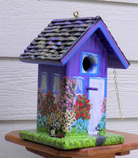 Purple and Blue Outdoor Birdhouse for the by BirdhouseBlessings, $79.00