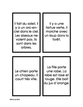 FRENCH Reading comprehension flashcard game