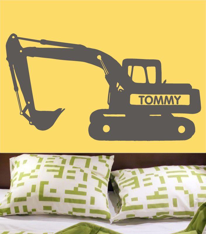 custom vinyl muurtattoo bulldozer graafmachine tractor met gepersonaliseerde naam voor jongens kinderen slaapkamer muur sticker kunst decoratie(China (Mainland))