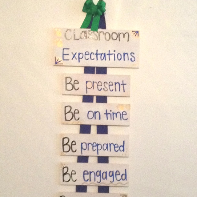 Hanging classroom expectations I made for my for 10th grade World Lit. Class!