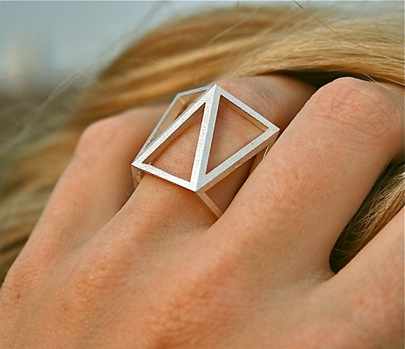 SKELETON TALL - Sterling silver faceted modern geometric 3D printed ring.