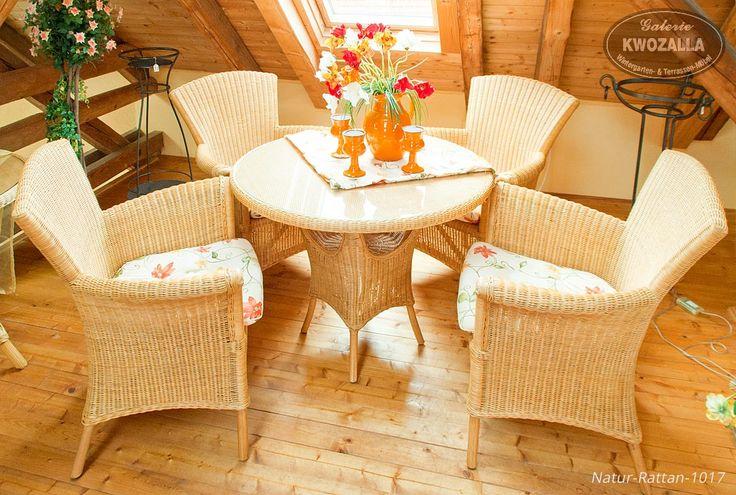 rattan sessel set aus naturrattan mit rattantisch und. Black Bedroom Furniture Sets. Home Design Ideas