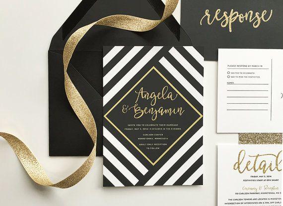boda blanco y negro de la raya invitación de boda por DevonDesignCo