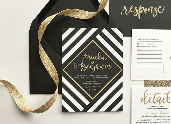black and gold wedding invitations black and by DevonDesignCo