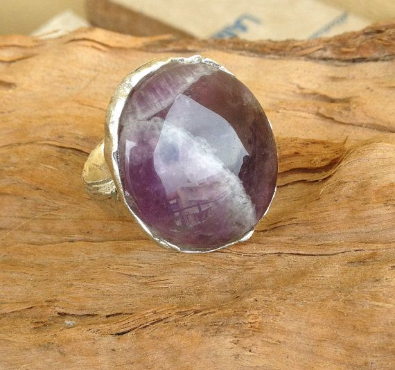 Amethyst and sterling silver ring milky inclusions by RingTheRing