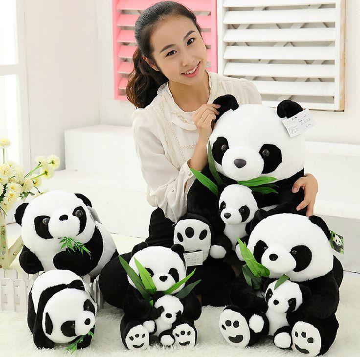 1pcs 25CM Sitting Mother and Baby Panda Plush Toys Stuffed Panda Dolls Soft Pillows kids toys Good Quality Free Shipping