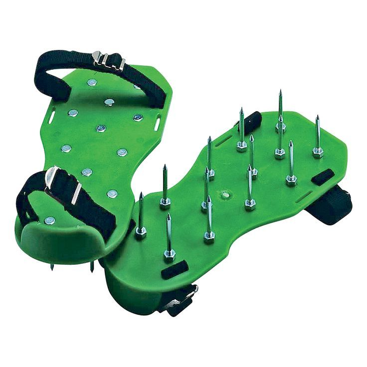 Deluxe hook-and-loop straps hold these light weight Lawn Aerator Shoes to your feet. Each step presses a dozen 2in. metal spikes into hard-packed soil and densely-packed turf. Thousands of holes create air, fertilizer, and moisture to soak into the soil.