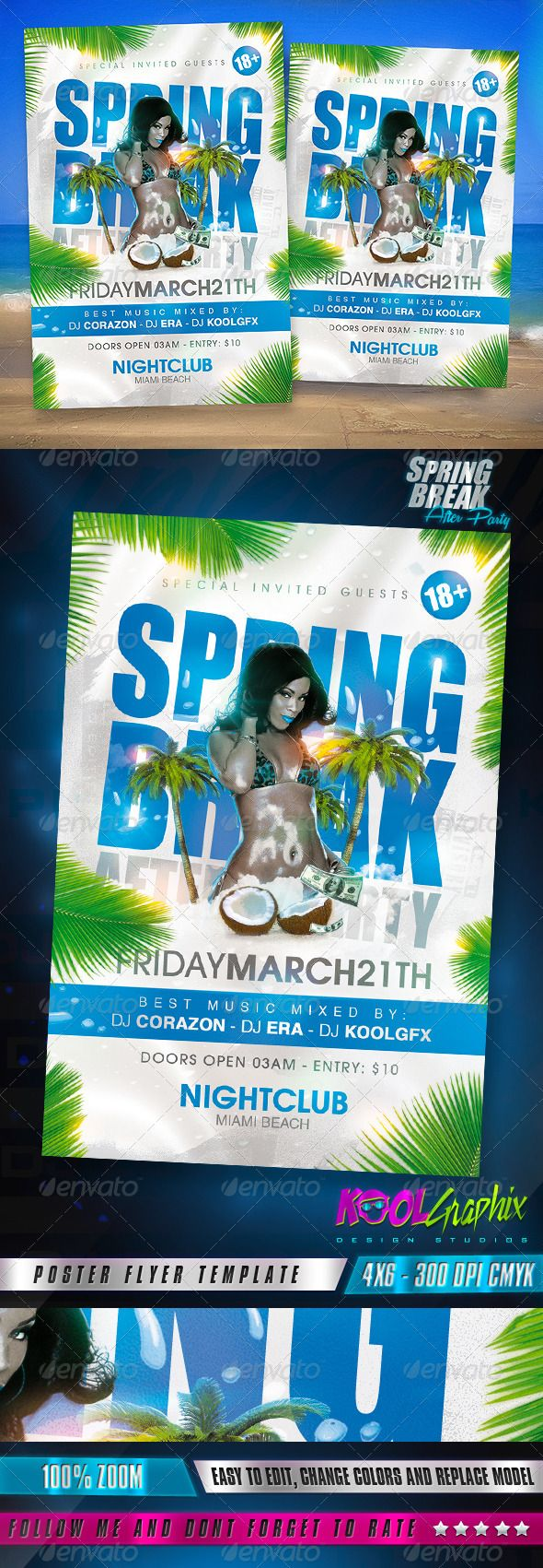 Spring Break After Party Flyer — Photoshop PSD #event #after • Available her…