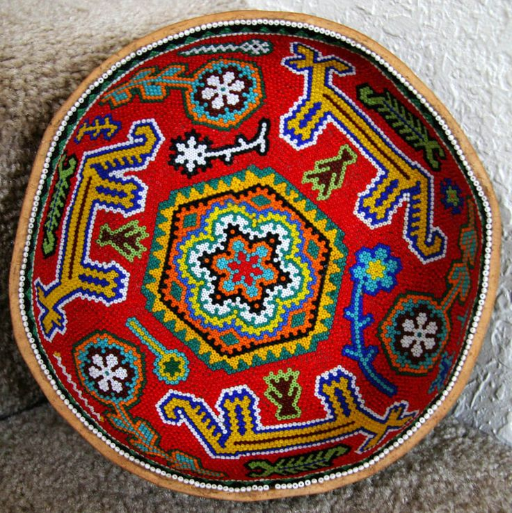 Huichol Indian Beaded bowl