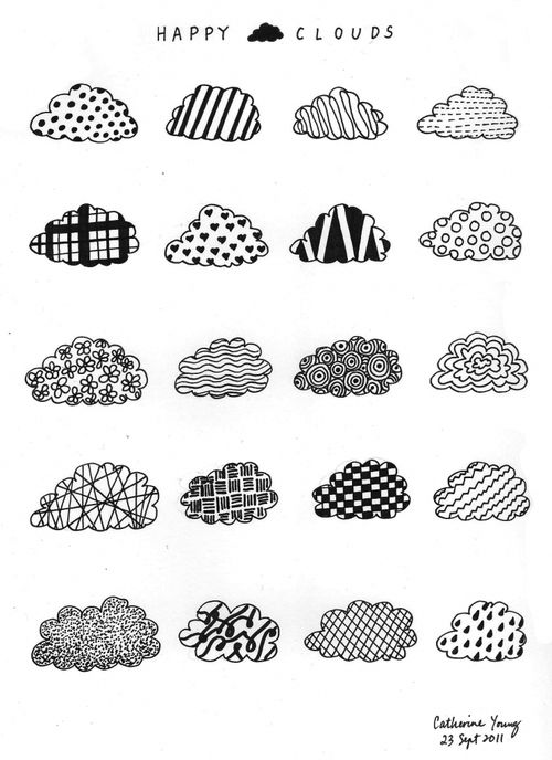 doodle cloud pattern repetition black white ink paper drawing