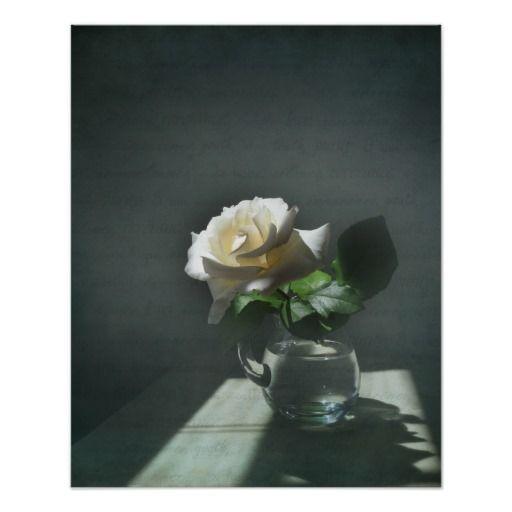 White Rose Symbolism Art Poster Print
