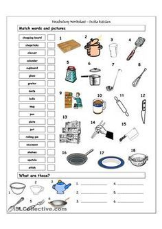 Kitchen worksheets- make one that shows equipment to do