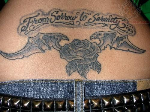 From Sorrow To Serenity - Bat Wings Rose Lower Back Tattoo
