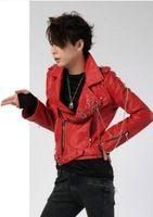 Korea 2014 Top Qulity Lederbekleidung Oberbekleidung Art und Weise dünnen roten Leder Herren Jacken Mantel, Reißverschluss kühlen Designer Marke Männer