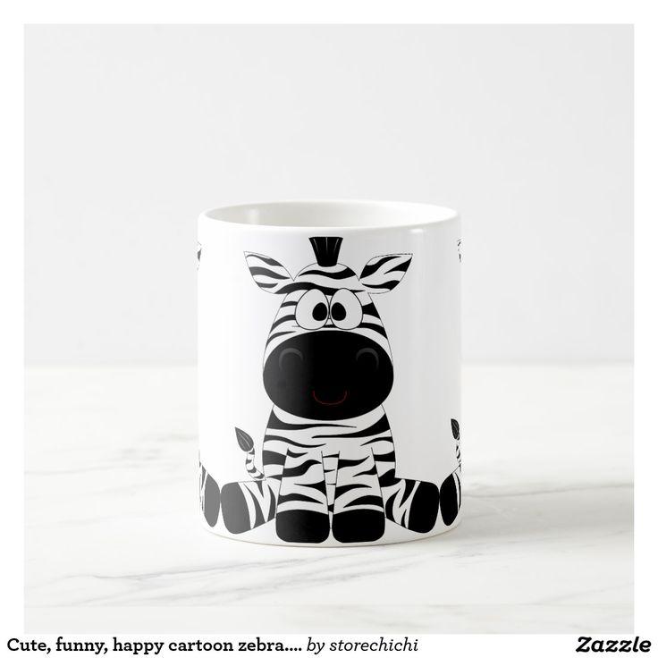 Cute, funny, happy cartoon zebra. Black and white. Coffee Mug