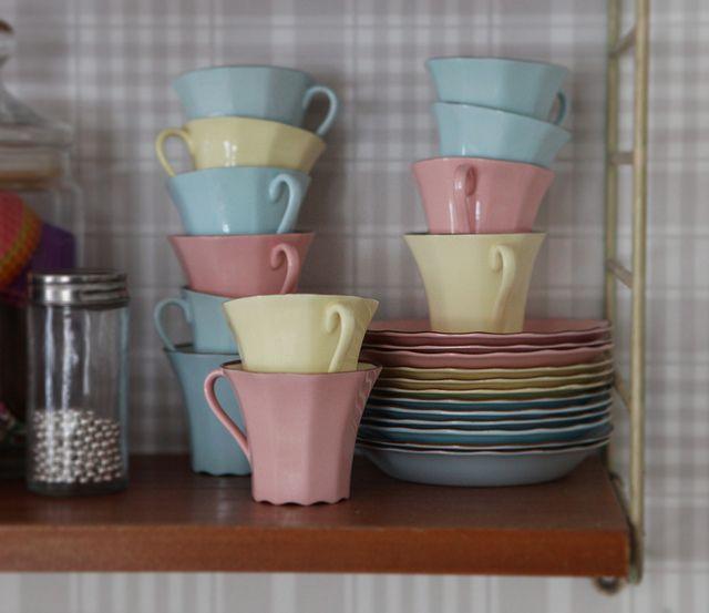 Pastel porcelain in my 50s kitchen by Underbaraclaras, via Flickr