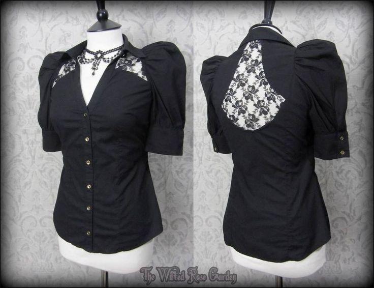Victorian Gothic Black Bow Lace Puff Shoulder Shirt Blouse 8 Steampunk Romantic #RiverIsland #Blouse #Party