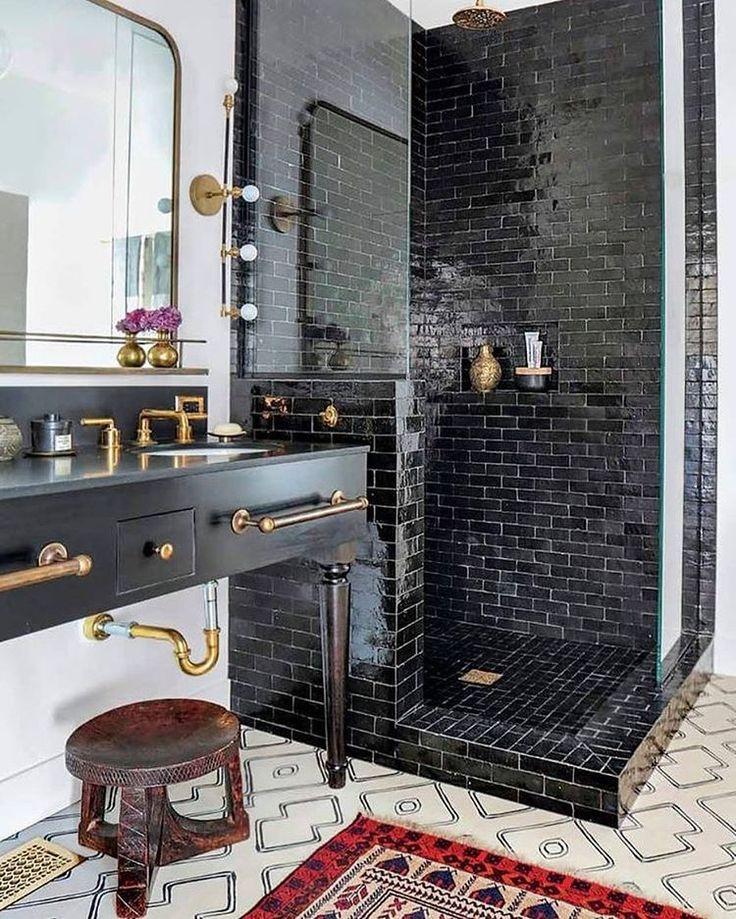 Photo Gallery In Website Bathroom goals black tile shower and vanity with gold fixtures