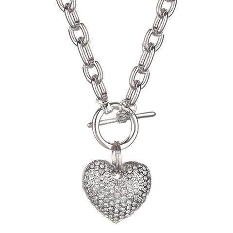 Jillian Crystal Heart Toggle Necklace