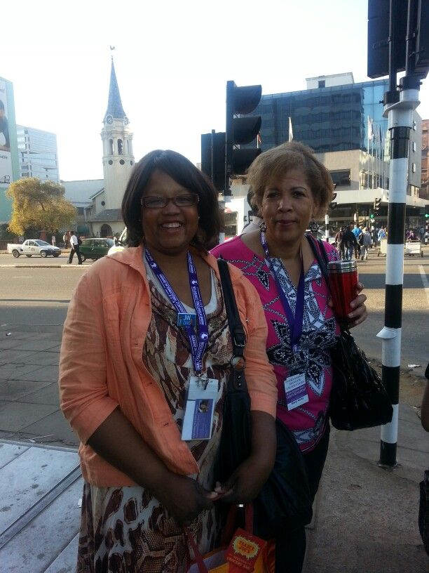Joy and Sheryl in downtown Zimbabwe...on our way to our chartered bus.